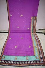 Vintage Embroidered Boder Bollywood Designer Saree Acrylic Sari Craft Fabric