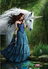 NEW * CONTEMPLATION UNICORN * ANNE STOKES FANTASY ART  BIRTHDAY GREETING CARD