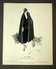Illustration pochoir original GAZETTE DU BON TON Tailleur de Madeleine Vionnet