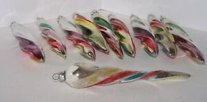 10 Glass Christmas Tree Ornaments Icicles Striped Twisted