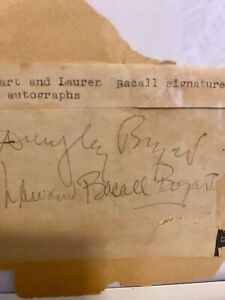 humphrey Bogart and Lauren Becall Bogart autographs