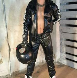 Mens Hoodied Faux Leather Coats Pants Long Sleeve Militarycycle Sports Suits New