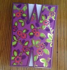 """Punch Studio Diecut Flowered INITIAL """"W"""" Magnetic Closure 75 Sheet Note Pad"""