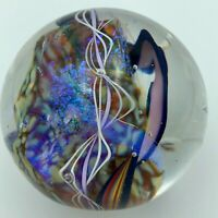 Handblown glass paperweight Art glass Dichroic signed