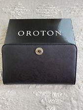Oroton Melanie Large Multi Pocket Zip Around Wallet. Black Leather.