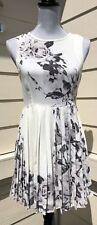 SNIDEL Ivory Black Print Pleated Fit & Flare  Dress 0