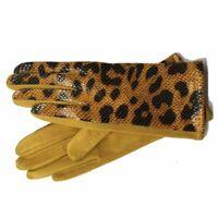 Women's Ladies Leather Gloves Snake Skin Winter Warm Soft Velvet Driving Gloves