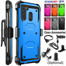 For Samsung Galaxy A21 Case Phone Hard Cover With Belt Clip Holder + Accessories