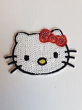 KITTY Cat PAILLETTES RICAMO TOPPA Hotfix Applique Motif Abito Costume Da Ballo