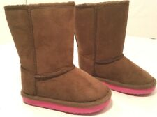 Old Navy Brown Muck Faux Fur Suede Pull On Boots Baby Toddler Girls 5M  6-12Mos