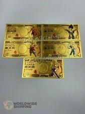 Lot 5 x Billet de 10000 Yen Dragon Ball Z DBZ Gold / Carte Card Carddass / Broly