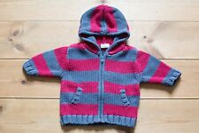 Baby Boys Chunky Knitted Hooded Jumper/Cardigan. 100% Cotton. 0-3 Months.