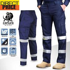 Hi Vis Pants Work Cargo Trousers Cotton Drill 3M Tape Tradie AU Standard UPF50+
