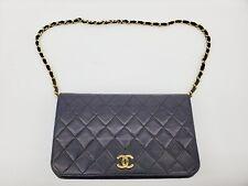 1989 Vintage Chanel Black CC WOC Wallet On Chain Gold Shoulder Bag Clutch 08897