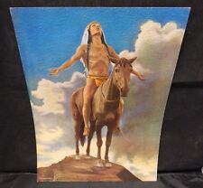 1920's Print Of A Indian On Horseback End Of The Trail 9x12 Textured C