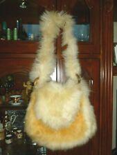 Vintage Purse Bag Sherpa Fur Patchwork Quilt Shearling Hippie Festival Unique
