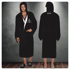 Harry Potter Deathly Hallows Mens Hooded Bath Robe Dressing Night Gown Fleece