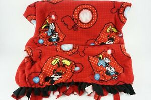 Disney Mickey and Minnie Red and Black Fleece Throw w/ Fringed Edges - 42x48