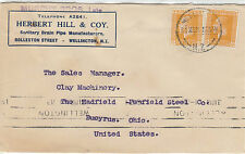 Stamps New Zealand 2d KGV x 2 on Herbert Hill & Coy cover sent 1921 to USA