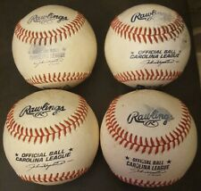 FOUR CAROLINA LEAGUE GAME USED BASEBALLS.