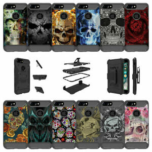 """For Apple iPhone 8 Plus (5.5"""") Shockproof Dual Layer Stand Case - Skull Designs"""
