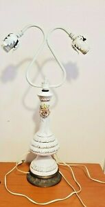 """Vintage White Ceramic with Pink Rose Two Arm Lamp with Brass Base approx 24"""""""