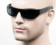 Slim Retro Cholo Gangster Wrap Sunglasses Glass Lenses OG LOC Style Black 414