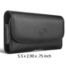 Black Horizontal Leather Case w/ Belt Loops & Belt Clip Holster 5.5 x 2.9 x .75