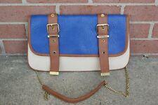 Steve Madden Envelope Clutch Shoulder Crossbody Chain Purse Hand Bag Blue Brown