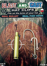 Blast and Cast Fish Hook and Real Bullet Hat Clip Set (2 Clips)