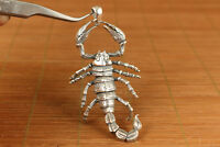 chinese 100% 925 silver hand carved scorpion statue netsuke necklace