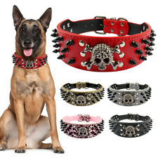 PU Leather Skull Spiked Studded Dog Collar Adjustable for Medium Large Dogs S-XL