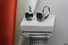 Womens Heart Cut Sterling Silver Mystic Rainbow Fire Topaz Lever Back Earrings