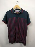 Mens Ben Sherman Navy Blue Red Striped Short Sleeve Polo Shirt Size Small #2C4