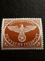 Red ww2 German Feldpost Stamp , Unused, Nazi Eagle and Swastika, gum on back