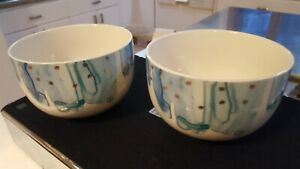 2 Anthropologie Night Sky Watercolor Bowls Blue Gold Stars cereal soup green