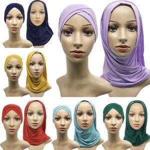 Women Muslim Jersey Hijab Bonnet Inner Cap Bone Ninja Hat Head Scarf Shawl Wrap