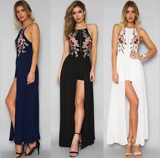 Women Floral Print Sleeveless Boho Dress Ladies Evening Party Long Maxi Dress