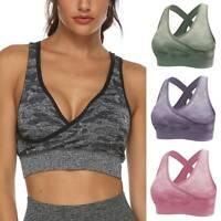Womens Seamless Padded Sports Bra Shape Yoga Running Fitness Top Underwear LC
