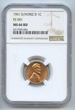 1961-D/Horiz. D Lincoln Cent (#7728) NGC MS66 RD.  Tough to Find Grading Info