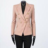 BALMAIN 2450$ Double Breasted Blazer In Powder Pink Grain De Poudre Wool