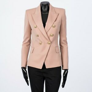 BALMAIN 2450$ Double Breasted Blazer In Powder Pink Grain De Poudre Wool 36