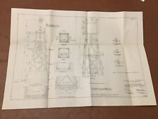 1912 Panama Canal Diagram Lighting Buoying Canal Beacon for Acetylene Gas Lights