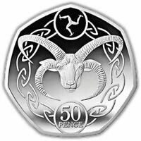 2017 ISLE OF MAN IOM MANX 50p Fifty Pence Loaghtan Sheep Ram UNC Coin Near BU