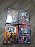 4 Guitar Hero games Guitar Hero 1 2 3 Legends Of Rock encode 80s PS2 w/ Manuals