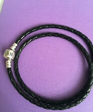 pandora black leather double bracelet 40cm long