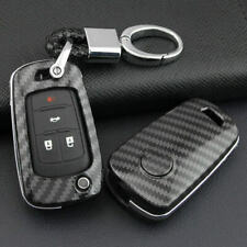 For Chevy Buick Chevrolet Carbon Fiber Flip Key Fob Case Keychain Replace Cover