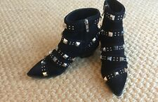 Barbara Bui Black Suede Studded Ankle Boots size 8.5