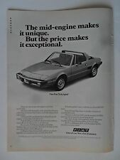 1976 Print Ad Fiat X1/9 Sports Car Coupe ~ Exceptional and Unique