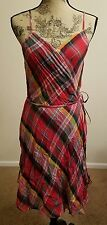 Polo Ralph Lauren Women Multi Plaid Wrap Dress Sz 14 SALE!!!! $298.00 THESPOT917
